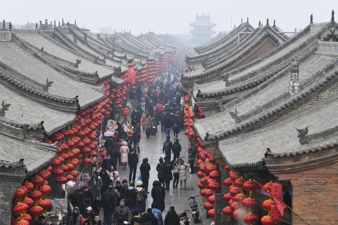 山西平遥:古城新春引游人